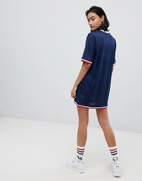 photo Oversized T-Shirt Dress in Mesh with Contrast Tipping by Fila, color Navy - Image 2