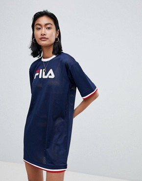 photo Oversized T-Shirt Dress in Mesh with Contrast Tipping by Fila, color Navy - Image 1