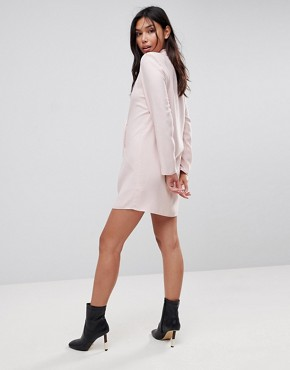 photo Tux Blazer Mini Dress with Pearl Buttons by ASOS ULTIMATE, color Nude - Image 2