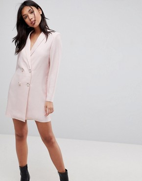 photo Tux Blazer Mini Dress with Pearl Buttons by ASOS ULTIMATE, color Nude - Image 1