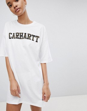 photo Camo Logo T-Shirt Dress by Carhartt WIP, color White - Image 1