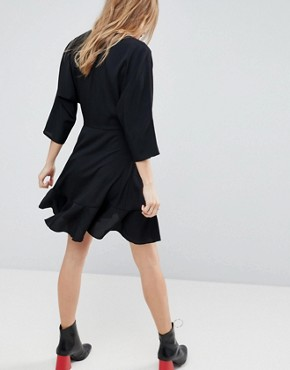 photo Wrap Front Mini Frill Dress by ASOS, color Black - Image 2