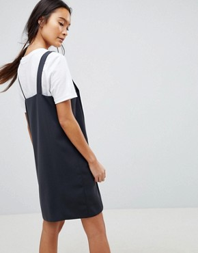 photo Dungaree Mini Slip Dress with Popper Button Through by ASOS DESIGN, color Dark Grey - Image 2