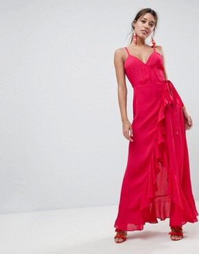 photo Ruffle Front Cami Wrap Maxi Dress by ASOS ULTIMATE, color Pink - Image 1