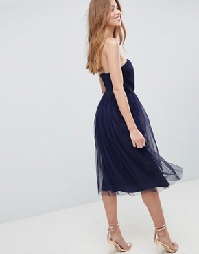 photo Bridesmaid Bandeau Tulle Midi Dress by ASOS DESIGN, color Navy - Image 2