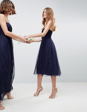 photo Bridesmaid Bandeau Tulle Midi Dress by ASOS DESIGN, color Navy - Image 1