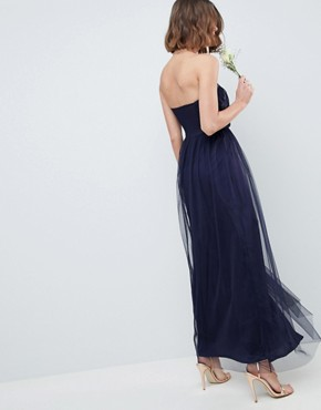 photo Bridesmaid Bandeau Tulle Maxi Dress by ASOS DESIGN, color Navy - Image 2