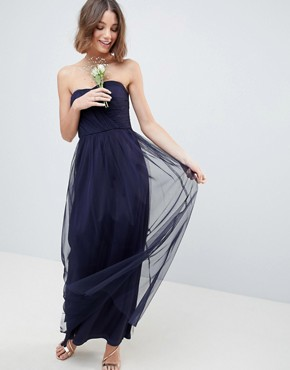 photo Bridesmaid Bandeau Tulle Maxi Dress by ASOS DESIGN, color Navy - Image 1