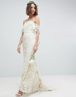 photo Bandeau Wedding Maxi Dress in Floral Lace by ASOS EDITION, color Ivory - Image 1