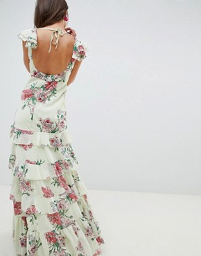 photo Tiered Ruffle Maxi Dress in Floral Print by ASOS DESIGN, color Floral Print - Image 2