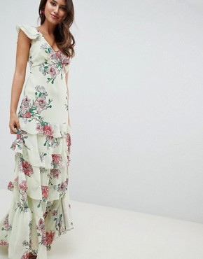 photo Tiered Ruffle Maxi Dress in Floral Print by ASOS DESIGN, color Floral Print - Image 1