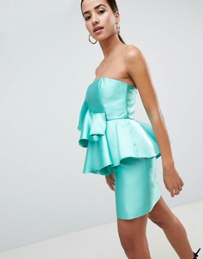photo Cocktail Mini Dress with Extreme Ruffles by ASOS DESIGN, color Turquoise - Image 1