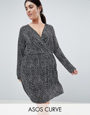 photo Plisse Wrap Dress in Blurred Spot Print by ASOS DESIGN Curve, color Multi - Image 1