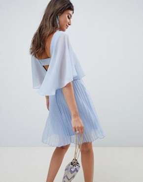 photo Mini Dress with Pleat Skirt and Flutter Sleeve by ASOS DESIGN, color Powder Blue - Image 2