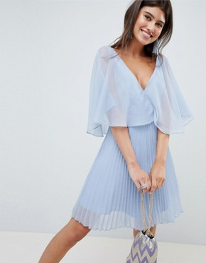 photo Mini Dress with Pleat Skirt and Flutter Sleeve by ASOS DESIGN, color Powder Blue - Image 1