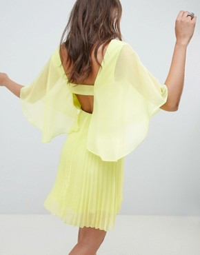photo Mini Dress with Pleat Skirt and Flutter Sleeve by ASOS DESIGN, color Lime - Image 2