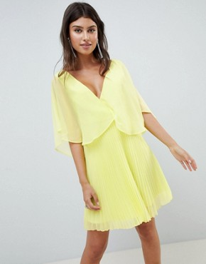 photo Mini Dress with Pleat Skirt and Flutter Sleeve by ASOS DESIGN, color Lime - Image 1