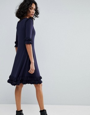 photo Knitted Ruffle Dress by BOSS Casual, color Dark Blue - Image 2