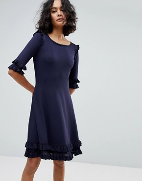 photo Knitted Ruffle Dress by BOSS Casual, color Dark Blue - Image 1