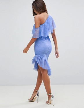 photo Dobby Frill One Shoulder Asymmetric Pep Midi Dress by ASOS, color Blue - Image 2