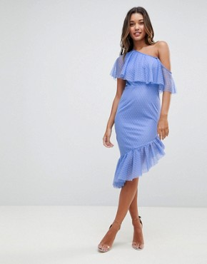 photo Dobby Frill One Shoulder Asymmetric Pep Midi Dress by ASOS, color Blue - Image 1