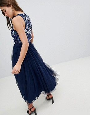photo Embellished Cluster Crop Top Tulle Midi Dress by ASOS, color Navy - Image 2