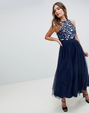 photo Embellished Cluster Crop Top Tulle Midi Dress by ASOS, color Navy - Image 1