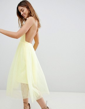 photo Scuba Pinny Midi Tulle Dress by ASOS DESIGN Premium, color Yellow - Image 2