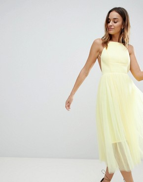 photo Scuba Pinny Midi Tulle Dress by ASOS DESIGN Premium, color Yellow - Image 1