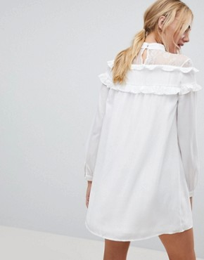photo High Neck Dress with Lace Contrast and Ruffle Detail by Fashion Union Tall, color White - Image 2