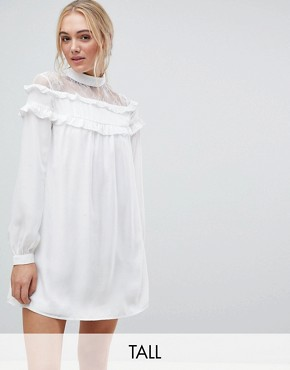 photo High Neck Dress with Lace Contrast and Ruffle Detail by Fashion Union Tall, color White - Image 1