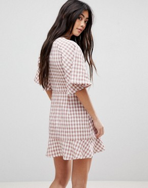 photo Tea Dress with Ruffle in Check by Fashion Union Petite, color Check - Image 2