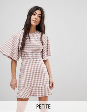photo Tea Dress with Ruffle in Check by Fashion Union Petite, color Check - Image 1