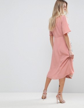 photo Embroidered Ruffle Wrap Midi Dress by ASOS PREMIUM, color Pink - Image 2