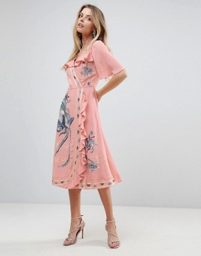 photo Embroidered Ruffle Wrap Midi Dress by ASOS PREMIUM, color Pink - Image 1