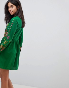 photo Aztec Mini Embroidered Skater Shirt Dress by ASOS PREMIUM, color Green - Image 2