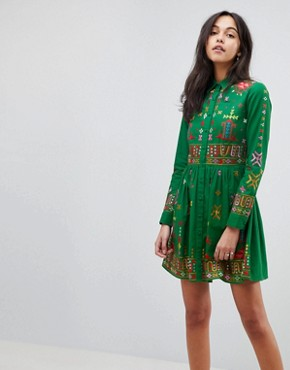 photo Aztec Mini Embroidered Skater Shirt Dress by ASOS PREMIUM, color Green - Image 1