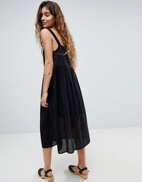 photo Casual Smock Midi Sundress in Grid Texture with Knot Tie by ASOS DESIGN, color Black - Image 2