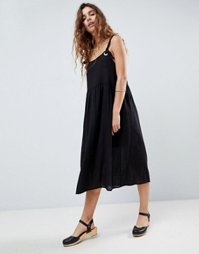 photo Casual Smock Midi Sundress in Grid Texture with Knot Tie by ASOS DESIGN, color Black - Image 1