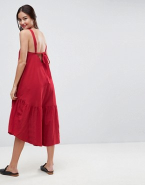 photo Aztec Embroidered Drop Waist Midi Dress by ASOS, color Red - Image 2