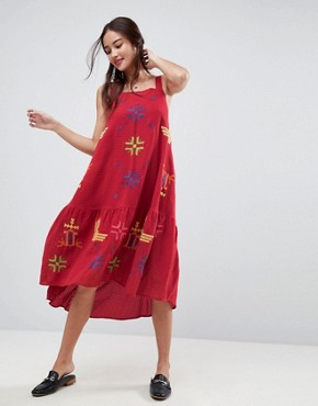 photo Aztec Embroidered Drop Waist Midi Dress by ASOS, color Red - Image 1