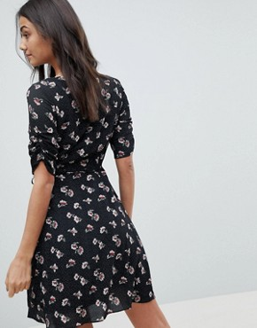 photo Wrap Dress in All Over Floral by Glamorous Tall, color Black Spot Floral - Image 2