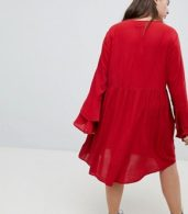 photo Smock Dress with Tiered Sleeve and Embroidery by Glamorous Curve, color Burnt Red - Image 2