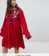 photo Smock Dress with Tiered Sleeve and Embroidery by Glamorous Curve, color Burnt Red - Image 1