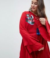photo Smock Dress with Tiered Sleeve and Embroidery by Glamorous Curve, color Burnt Red - Image 3