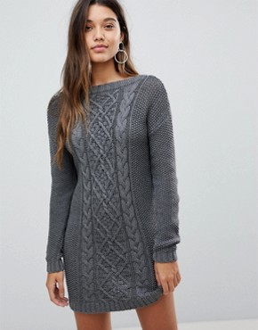 photo Jumper Dress in Cable Knit with Deep V-Back by Fashion Union, color Grey - Image 2