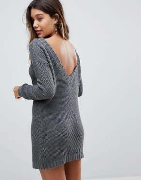 photo Jumper Dress in Cable Knit with Deep V-Back by Fashion Union, color Grey - Image 1