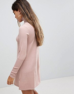 photo Polo Neck Knitted Mini Dress by Fashion Union, color Blush - Image 2
