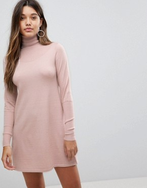 photo Polo Neck Knitted Mini Dress by Fashion Union, color Blush - Image 1