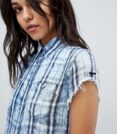 photo Check Shirt Dress by Replay, color Blue - Image 3